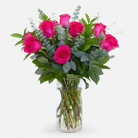 1-Dozen Bright Pink Roses