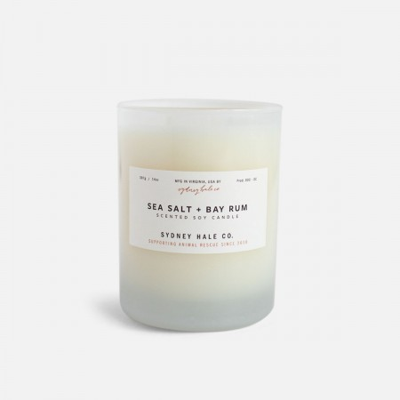 Sea Salt + Bay Rum Scented Soy Candle