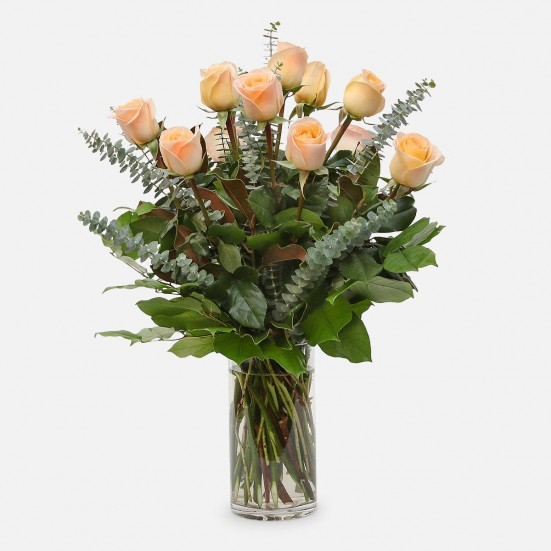 1-Dozen Peach Roses Flower Delivery in New Jersey