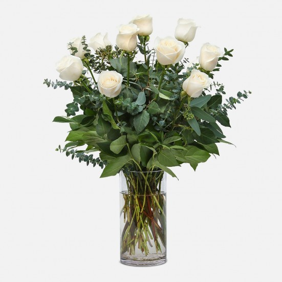 1-Dozen White Roses New Baby
