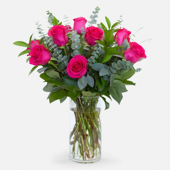 1-Dozen Bright Pink Roses Just Because
