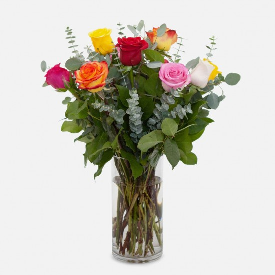 1-Dozen Multicolor Roses Flower Delivery in New Jersey