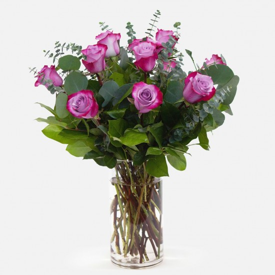 1-Dozen Deep Purple Roses Flowers