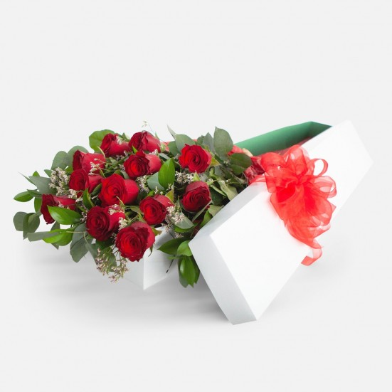 1-Dozen Boxed Red Roses Flowers