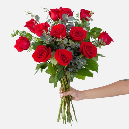 1-Dozen Red Rose Bouquet Flowers