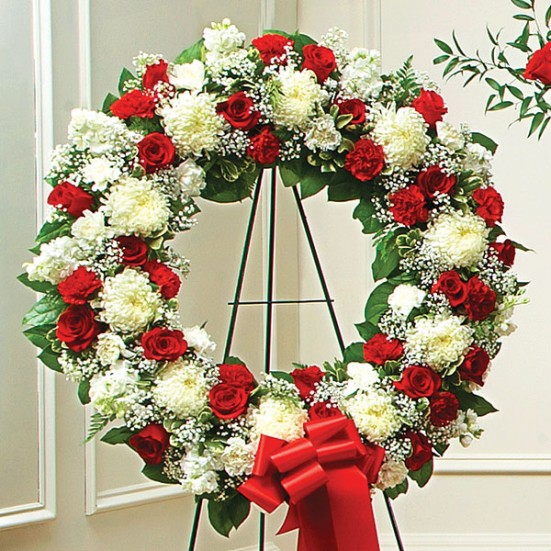 Serene Blessings Standing Wreath - Red & White - plantshed.com