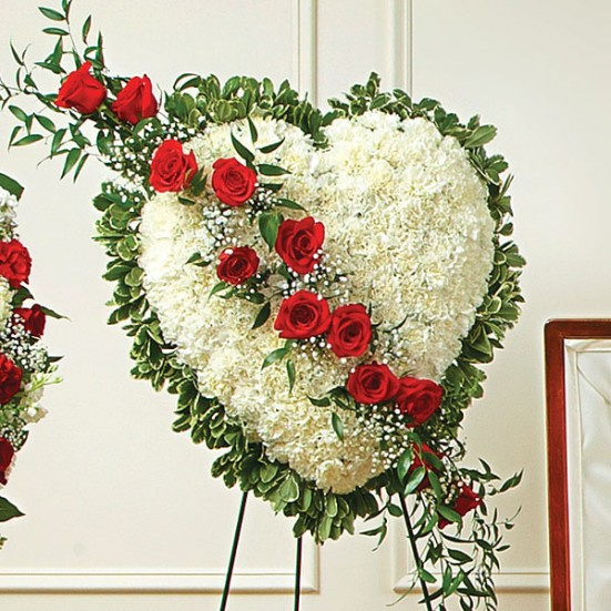 Always in My Heart Floral Heart - Red Sympathy & Funeral