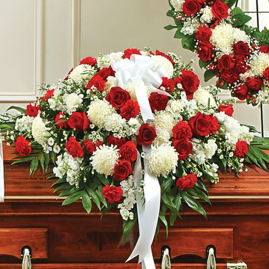 Cherished Memories Half Casket Cover-Red & White Sympathy Casket Covers
