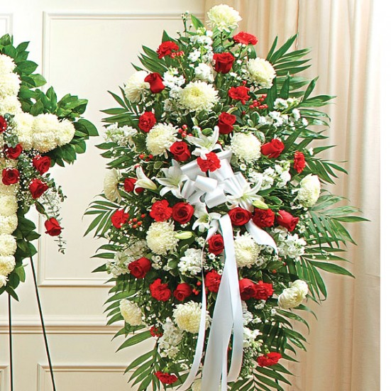 Deepest Sympathies Red & White Standing Spray Sympathy Easel Sprays