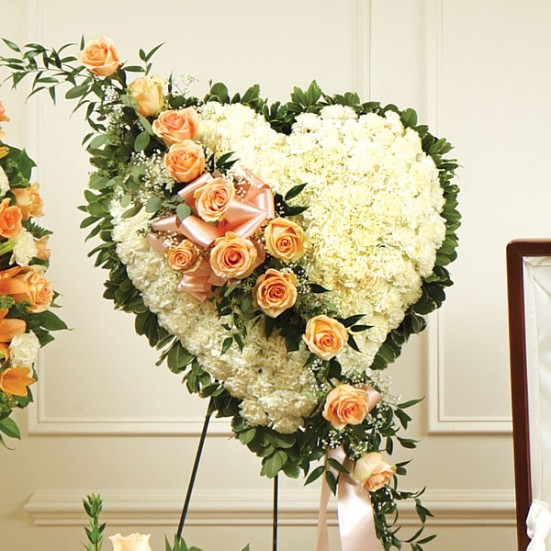White Heart with Peach Rose Break Sympathy & Funeral