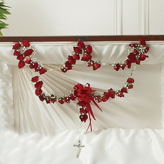Large Rosary with Red Spray Roses Sympathy & Funeral