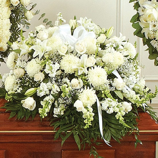 Cherished Memories White Half Casket Cover - plantshed.com