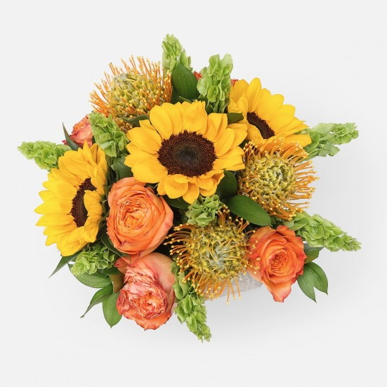 Manhattan Sunset - Roses, Protea and Sunflowers - PlantShed.com