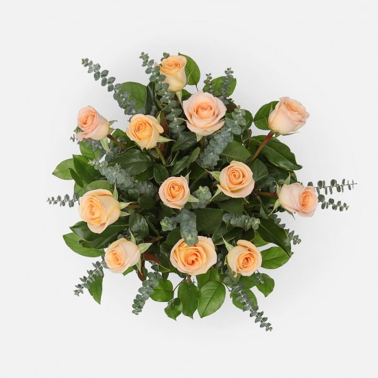 1-Dozen Peach Roses Flowers