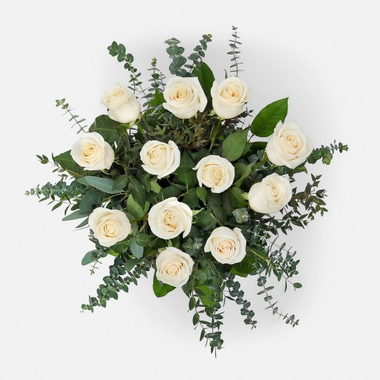 1-Dozen White Roses Birthday