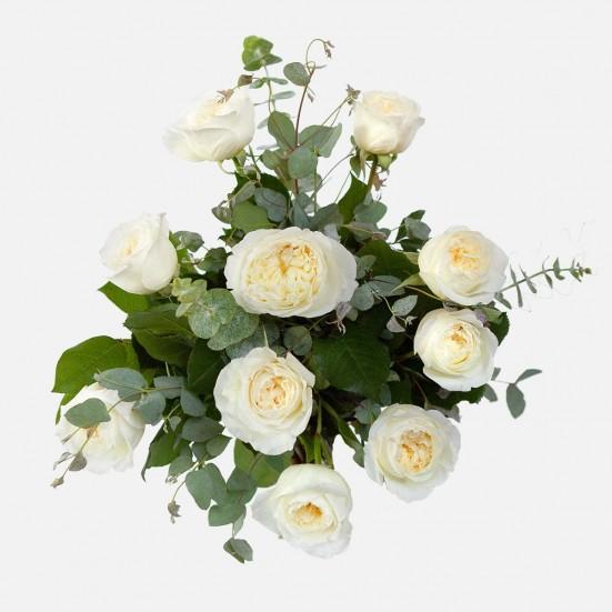 White Garden Rose Bouquet Flowers