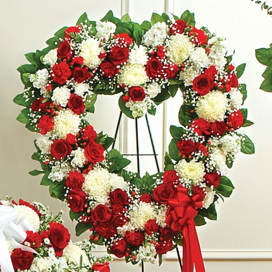 Always Remember Red & White Floral Heart Tribute Sympathy & Funeral
