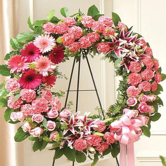 Serene Blessings Standing Wreath - Pink - plantshed.com