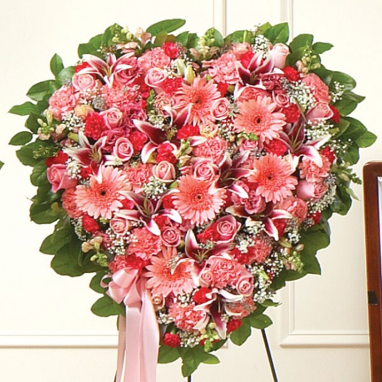 Pink Mixed Flower Heart Sympathy & Funeral