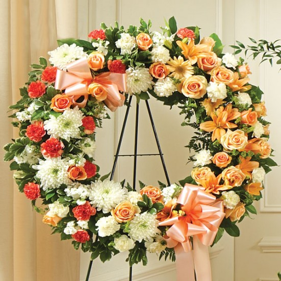 Serene Blessing Standing Wreath-Peach/Orange/White - plantshed.com