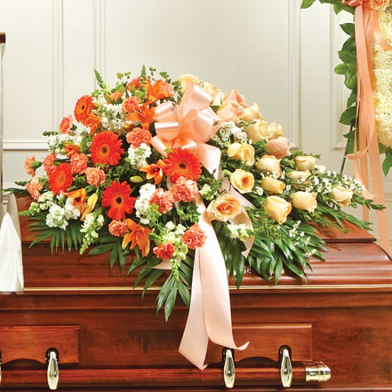 Cherished Memories Half Casket Cover-Peach & White Sympathy Casket Covers