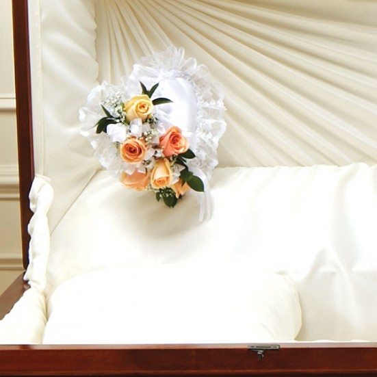 Peach and White Satin Heart Casket Pillow Sympathy & Funeral