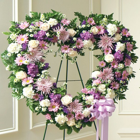 Always Remember Lavender Floral Heart Tribute Sympathy & Funeral