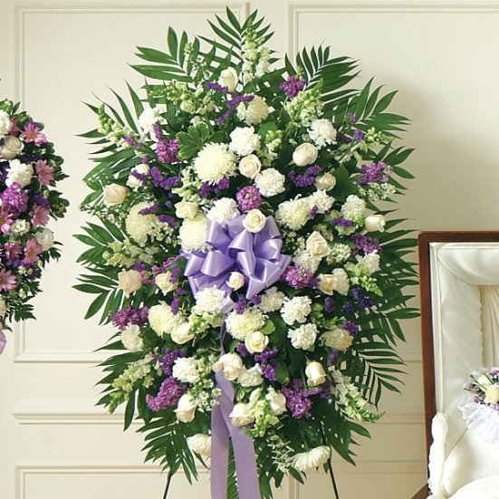 Deepest Sympathies Lavender & White Standing Spray Sympathy & Funeral