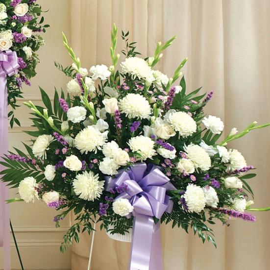 Heartfelt Sympathies Lavender Standing Basket Sympathy