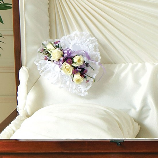 Lavender and White Satin Heart Casket Pillow Sympathy & Funeral