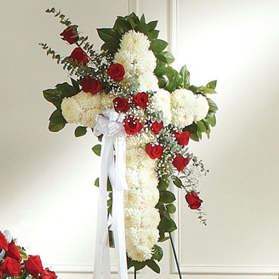 Sympathy Cross on Easel Red and White - plantshed.com
