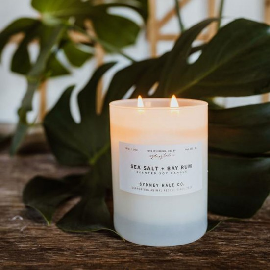 Sea Salt + Bay Rum Scented Soy Candle Mother's Day
