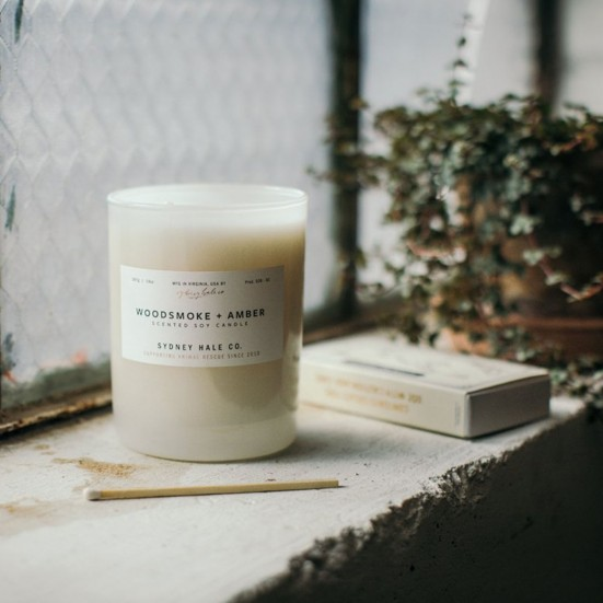 Woodsmoke + Amber Scented Soy Candle Home & Lifestyle
