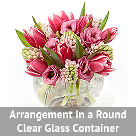 Arrangement in a Square Clear Glass Container | Flower Delivery NYC Florist | Plantshed.com